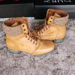 Mia Girl. Cognac Lace Up Combat Boots Sz. 8.5M